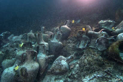 ancient amphoras lie at the bottom of the sea from a 5th Century B.C. shipwreck, the first ancient shipwreck to be opened to the public in Greece, including to recreational divers who will be able to visit the wreck itself, near the coast of Perister...