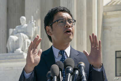 Dale Ho, an attorney for the American Civil Liberties Union, speaks to reporters after he argued before the Supreme Court against the Trump administration's plan to ask about citizenship on the 2020 census, in Washington, April 23, 2019.