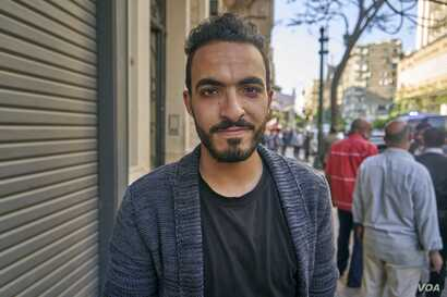 "Ahmed Mamdouh, says he will vote ""no"" but still he would not mind if the president's term was extended in Cairo, on April 20, 2019."