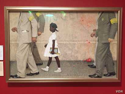 Rockwell's 1964 painting for Look magazine, The Problem We All Live With, is considered an iconic image of the Civil Rights Movement in the United States.(J.Taboh/VOA)