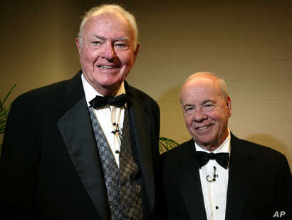 Emmy award winners Harvey Korman, left, and Tim Conway pose together after performing at University of Texas at Tyler in 2004.