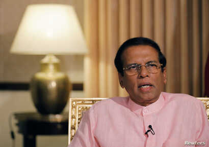 Sri Lanka's President Maithripala Sirisena speaks during an interview with Reuters at his residence in Colombo, Sri Lanka, May 4, 2019.