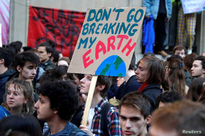 Youths demonstrate for climate change during the