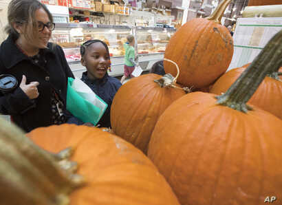 Students and teachers from the Mundo Verde Bilingual Public Charter School in Washington view pumpkins and other items on display during a visit to the Eastern Market in the nation's capital, Oct. 13, 2017.