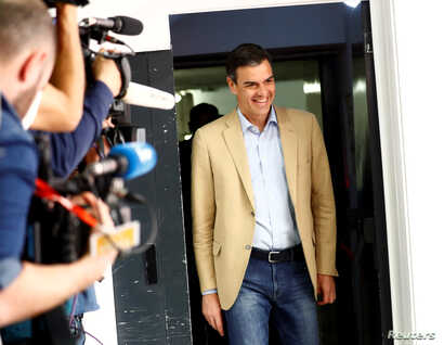 Spain's acting Prime Minister Pedro Sanchez arrives at a party meeting a day after Spain's general election, at PSOE headquarters in Madrid, Spain, April 29, 2019.