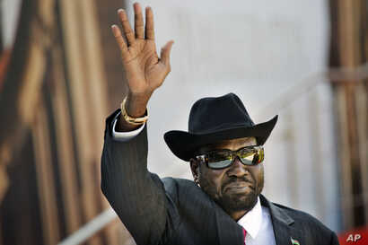 South Sudan President Salva Kiir arrives for the swearing-in ceremony of Cyril Ramaphosa at Loftus Versfeld stadium in Pretoria, South Africa, May 25, 2019.