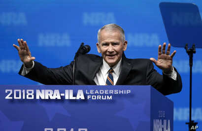 Oliver North gives the Invocation at the NRA-Institute for Legislative Action Leadership Forum
