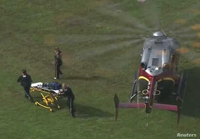 Rescue workers unload a stretcher from a helicopter following a shooting incident at the municipal center in this still image from video in Virginia Beach, Virginia, May 31, 2019.