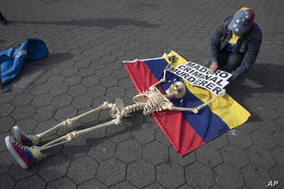 A supporter of Venezuelan opposition leader Juan Guaido secures a skeleton to a Venezuelan flag during a rally in New York's Union Square, Tuesday, April 30, 2019.