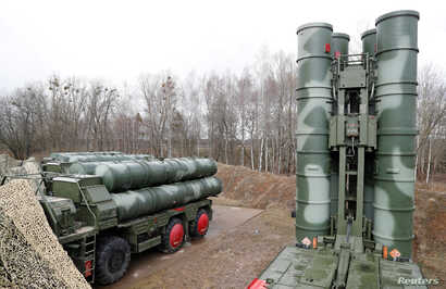 FILE - Russian S-400 surface-to-air missile systems are shown after their deployment at a military base outside the town of Gvardeysk, near Kaliningrad, Russia, March 11, 2019.