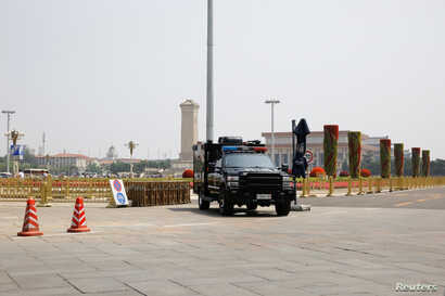 A police vehicle is deployed in Tiananmen Square in Beijing, June 4, 2019.