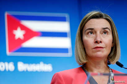 FILE - European Union foreign policy chief Federica Mogherini holds a news conference after meeting Cuba's Foreign Minister Bruno Rodriguez at the EU Council in Brussels, Belgium.