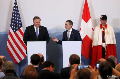 U.S. Secretary of State Mike Pompeo and Swiss Foreign Minister Ignazio Cassis attend a joint news conference at the medieval Castelgrande castle in Bellinzona, Switzerland, June 2, 2019.