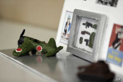 A project created by students learning about the D-Day invasion at Normandy is displayed during a history class at Crossroads FLEX High School in Cary, N.C., May 21, 2019.
