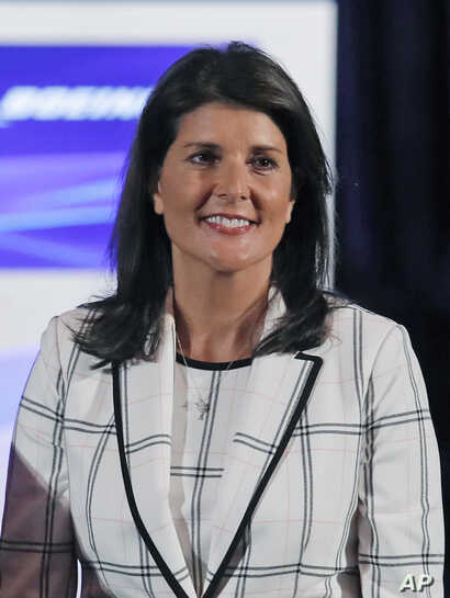 Nikki Haley is introduced at the Boeing annual shareholders meeting at the Field Museum in Chicago, April 29, 2019.