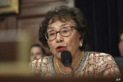 FILE - Rep. Nita Lowey, D-N.Y., Chairwoman of the full committee, speaks before hearing from Attorney General William Barr, as he appears before a House Appropriations subcommittee to make his Justice Department budget request, April 9, 2019.