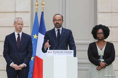 French Culture Minister Franck Riester, French Prime Minister Edouard Philippe and French Junior Minister and Government's spokesperson Sibeth Ndiaye attend a news conference after the weekly cabinet meeting, dominated by the aftermath of the Notre-D...