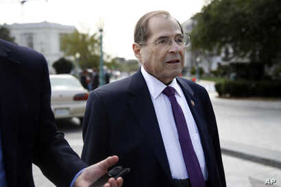 House Judiciary Committee Chair Jerrold Nadler, D-N.Y., speaks with a reporter as he departs a news conference after the House voted to reauthorize the Violence Against Women Act, April 4, 2019, on Capitol Hill in Washington.
