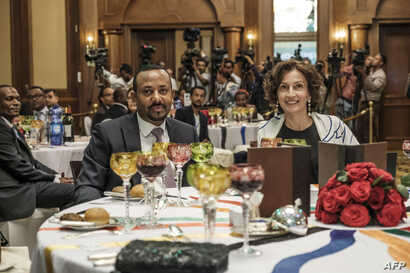 Abiy Ahmed, prime minister of Ethiopia, and Audrey Azoulay, UNESCO's director-general, attend the Guillermo Cano World Press Freedom Prize ceremony in Addis Ababa, o May 2, 2019. - The ceremony, hosted by the Ethiopian government, is part of the Worl...