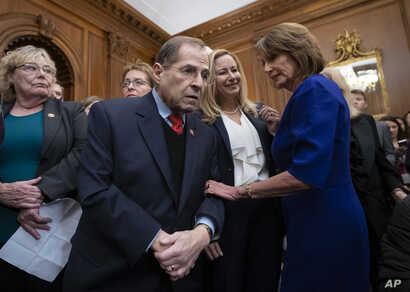 FILE - Speaker of the House Nancy Pelosi, D-Calif., right, speaks with Rep. Jerrold Nadler, D-N.Y., center, chairman of the House Judiciary Committee, at the Capitol in Washington.