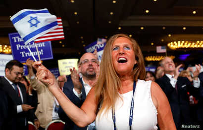 FILE - A supporter cheers as President Donald Trump addresses the Republican Jewish Coalition 2019 Annual Leadership Meeting in Las Vegas, Nevada, April 6, 2019.