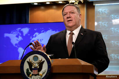 U.S. Secretary of State Mike Pompeo speaks during a briefing on Iran at the State Department in Washington, April 8, 2019.