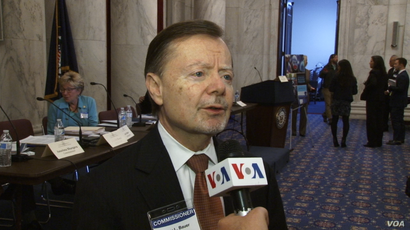 Gary Bauer, a member of the U.S. Commission on International Religious Freedom, speaks to VOA Persian at the Russell Senate Office Building in Washington on April 29, 2019.