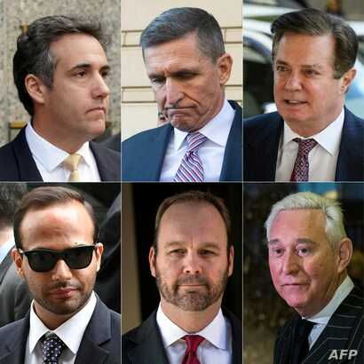 Clockwise from top left, this combination of file photograph shows former Trump lawyer Michael Cohen, former National Security Advisor Michael Flynn, former campaign manager Paul Manafort, political consultant Roger Stone, former Manafort business as...