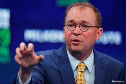 Mick Mulvaney, assistant to the president and acting chief of staff, the White House, speaks during the Milken Institute's 22nd annual Global Conference in Beverly Hills, Calif., April 30, 2019.