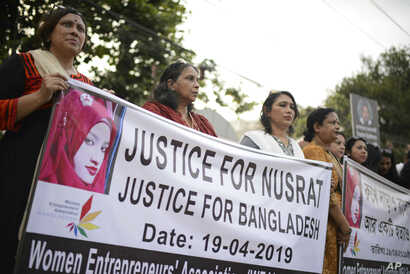 Protesters demand justice for an 18-year-old woman who was killed after she was set on fire for refusing to drop sexual harassment charges against her Islamic school's principal, in Dhaka, Bangladesh, April 19, 2019.