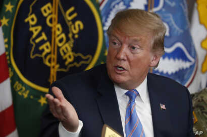 President Donald Trump participates in a roundtable on immigration and border security at the U.S. Border Patrol Calexico Station in Calexico, Calif., April 5, 2019.