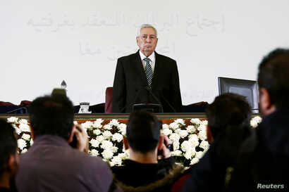 Algerian upper house chairman Abdelkader Bensalah is pictured after being appointed as interim president by Algeria's parliament, following the resignation of Abdelaziz Bouteflika in Algiers, Apr. 9, 2019.