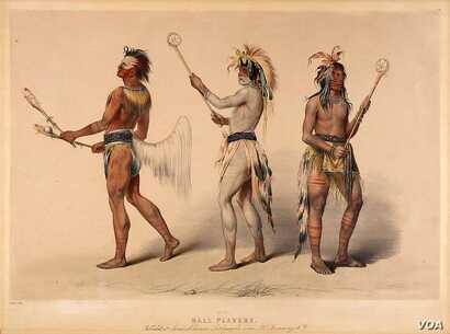 """""""The Ball Players,"""" painting by 19th century artist George Catlin, depicts Choctaw, Sioux, and Ojibwe stickball players."""