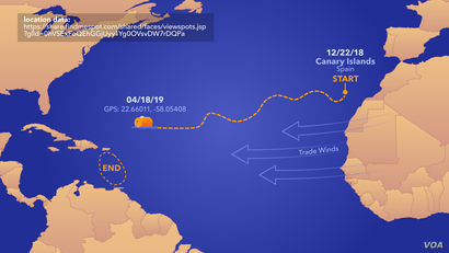 Frenchman Jean-Jacques Savin, 72, posted on his Facebook page that he was just 750 kilometers from the island of St. Martin. He set sail for the Caribbean Dec. 26, leaving from El Hierro in Spain's Canary Islands.