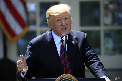 President Donald Trump speaks about modernizing the immigration system in the Rose Garden of the White House, in Washington, May 16, 2019.