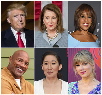 This combination photo shows (Top row, L-R): President Donald Trump, House Speaker Nancy Pelosi, CBS News' Gayle King, (Bottom row, L-R): Actor-producer Dwayne Johnson, actress Sandra Oh and singer Taylor Swift, who are among the people honored in  T...