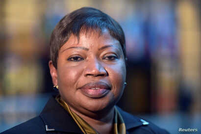 FILE - Fatou Bensouda, Prosecutor of the International Criminal Court (ICC), poses for pictures at the European Council in Brussels, Belgium, Jan. 26, 2017.