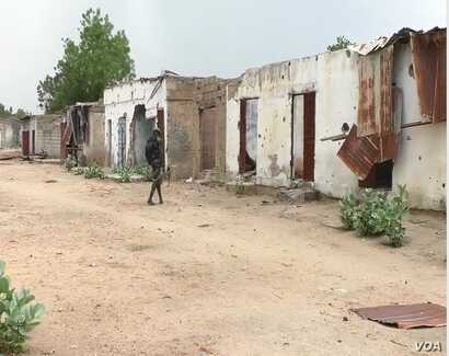 Houses destroyed during battles with Boko Haram are seen in Kousseri, Cameroon, June 11, 2019.