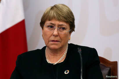 FILE - U.N. High Commissioner for Human Rights Michelle Bachelet attends a meeting in Mexico City, Mexico, April 8, 2019.