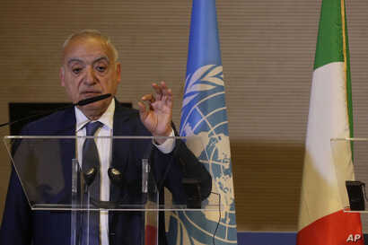 UN special envoy to Libya Ghassan Salame holds a press conference in Rome, June 28, 2019.