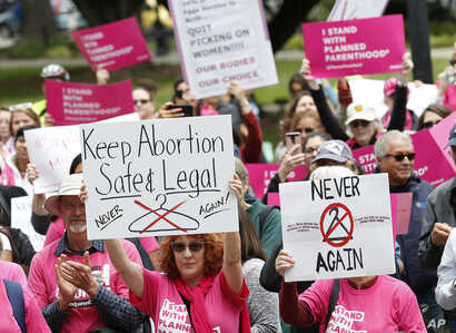 FILE - People rally in support of abortion rights at the state Capitol in Sacramento, Calif., May 21, 2019.