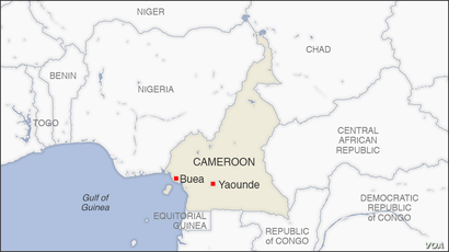 Map of Buea and Yaounde, Cameroon