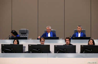 Judges are seen in the courtroom for the trial of the Congolese militia commander Bosco Ntaganda at the ICC (International Criminal Court) during his trial at the Hague, in the Netherlands, July 8, 2019.