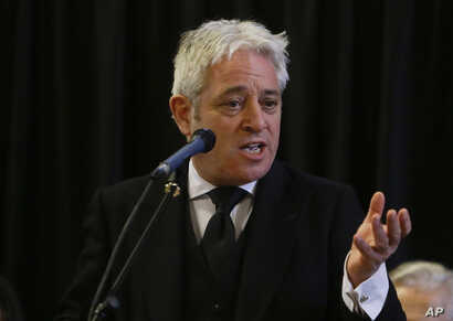 FILE - In this file photo dated Thursday, March 22, 2018, John Bercow, Speaker of the House of Commons speaks at Westminster Hall inside the Palace of Westminster in London.