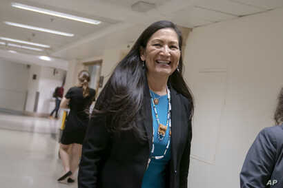FILE - Rep. Deb Haaland, D-N.M., one of the first Native American woman elected to Congress, is seen on Capitol Hill in Washington, April 3, 2019.