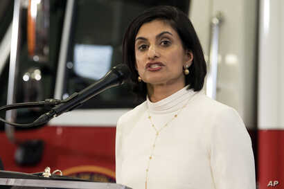 FILE - In this Feb. 14, 2019, file photo, Centers for Medicare & Medicaid Services (CMS) Administrator Seema Verma speaks during a news conference in Washington.