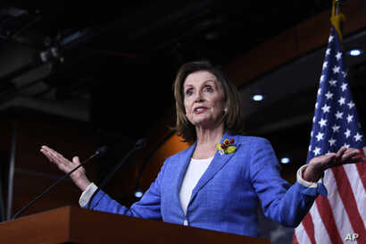 House Speaker Nancy Pelosi of Calif., speaks during a news conference on Capitol Hill in Washington, July 26, 2019.