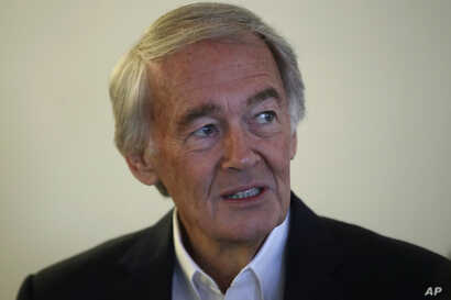 FILE - U.S. Sen. Edward Markey, D-Mass., speaks during a news conference in Boston, Aug. 26, 2019.
