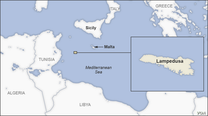 Map of the Island of Lampedusa, Italy