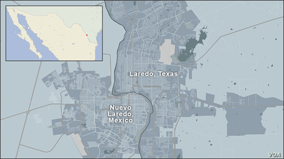 Map of Laredo, Texas and Nuevo Laredo, Mexico